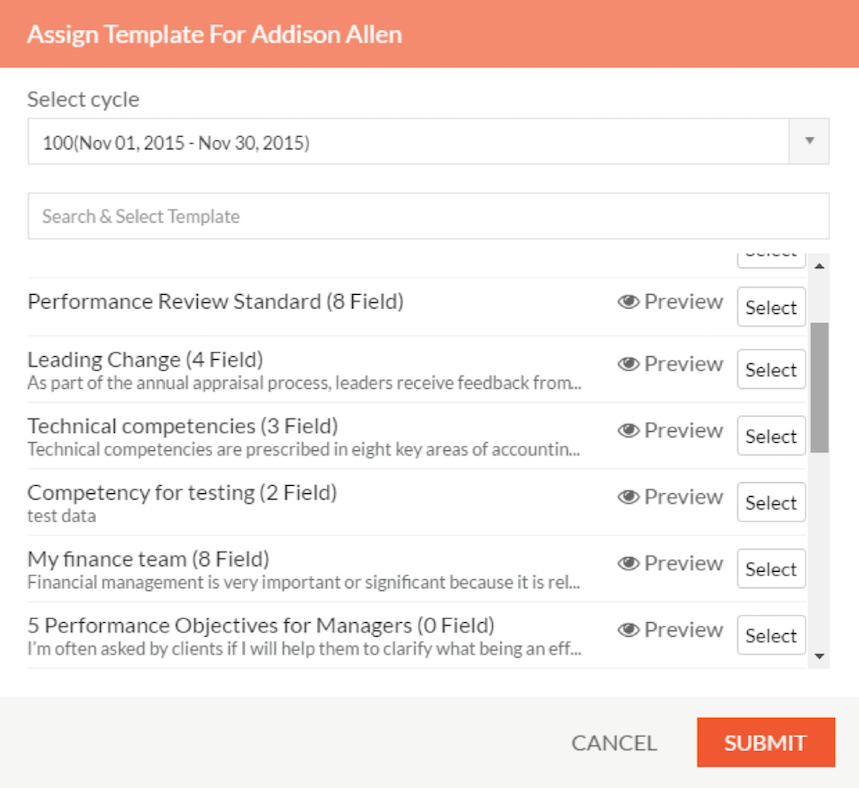 To Assign Templates At One Go, In The Template Drop Down Menu, Click On  Assign. All The Employees To Whom You Have Not Assigned Templates Will Be  Shown With ...  Performance Appraisals Templates
