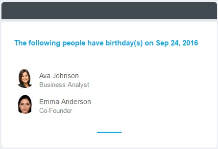 Image of Birthday Alert in Application