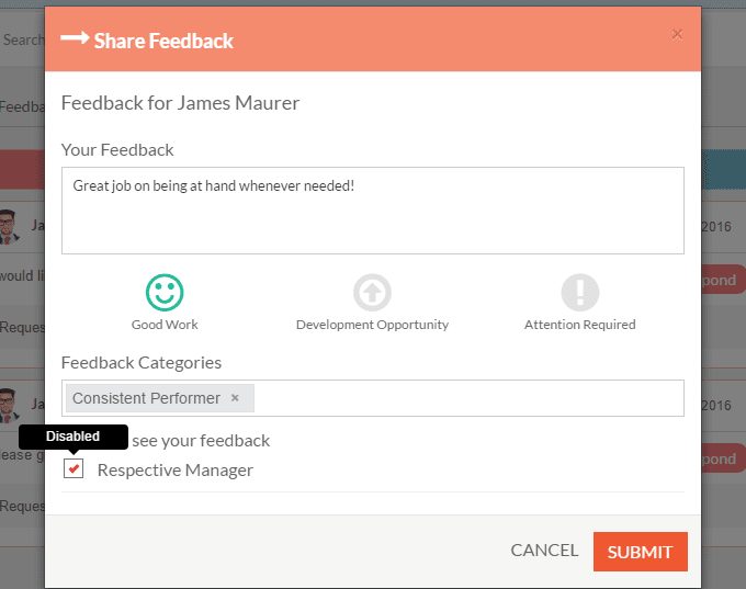 Image of User Responding to Feedback Request