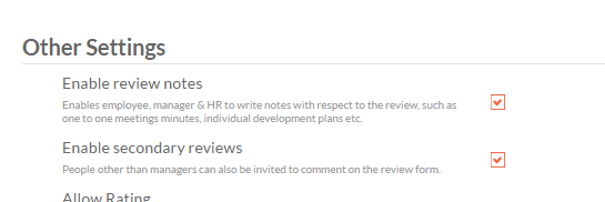 review note setting